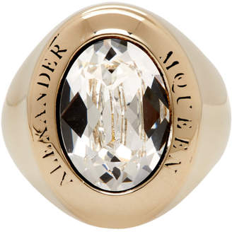 Alexander McQueen Gold and Crystal Jewelled Logo Ring