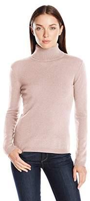 Lark & Ro Women's 100% Cashmere Soft Slim Fit Basic Turtleneck Sweater