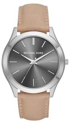 Michael Kors Slim Runway Leather Strap Watch, 44mm