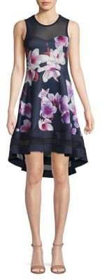 Quiz Floral Mesh-Panel Fit-&-Flare Dress