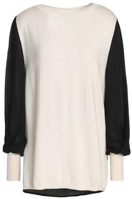 Amanda Wakeley Ray Crepe De Chine-Paneled Silk Wool And Cashmere-Blend Sweater