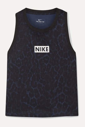 Nike Cropped Leopard-print Dri-fit Tank - Midnight blue