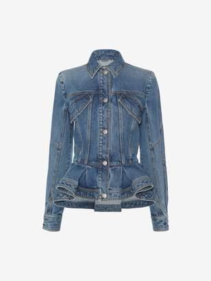 Alexander Mcqueen Vintage Wash Denim Peplum Jacket