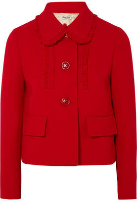 Miu Miu Ruffle-trimmed Wool-crepe Jacket - Red