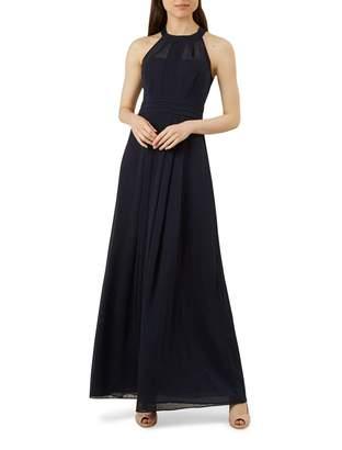 Hobbs Navy Chiffon 'Alexis' Halterneck Full Length Evening Dress