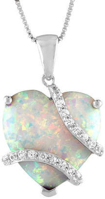 FINE JEWELRY Womens Lab Created Multi Color Opal Heart Pendant Necklace
