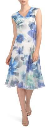 Komarov V-Neck Chiffon Tea Length Dress (Regular & Petite)