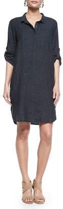 Eileen Fisher 3/4-Sleeve Organic Linen Henley Dress, Denim, Plus Size
