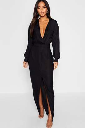 boohoo Petite Utility Pocket Front Maxi Dress
