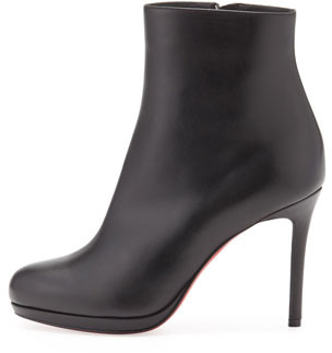 Christian Louboutin Bootylili Leather Red Sole Ankle Boot, Black