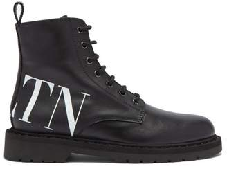 Valentino - Vltn Lace Up Leather Ankle Boots - Womens - Black