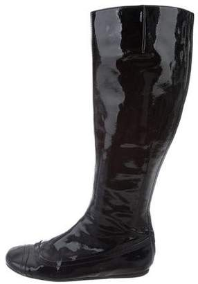 Lanvin Patent Leather Round-Toe Boots