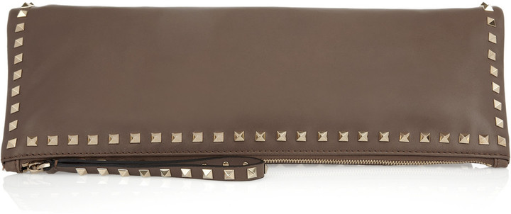Valentino Rockstud oversized leather clutch