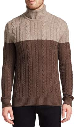 Saks Fifth Avenue Wool Cabled Turtleneck Sweater