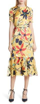 Saloni Lorna Print Ruffle Hem Midi Dress