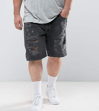 Asos Design Plus Slim Denim Shorts In Washed Black With Extreme Rips