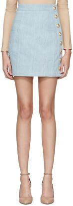 Balmain Blue Denim Side Buttons Miniskirt $1,095 thestylecure.com