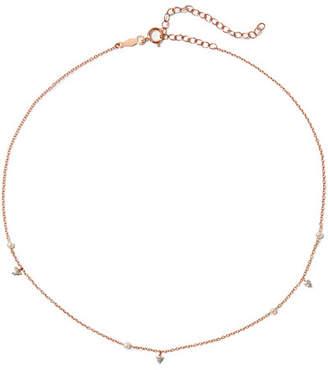 Catbird - Dew Drop 14-karat Rose Gold, Pearl And Diamond Choker