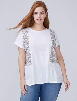 Lace Panel Peplum Tee