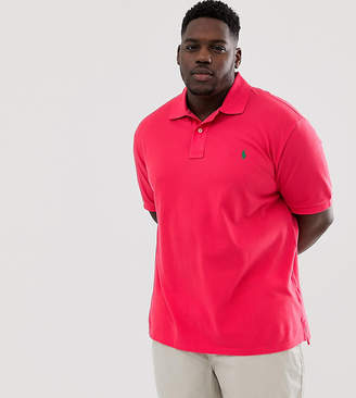 Big & Tall player logo pique polo in red