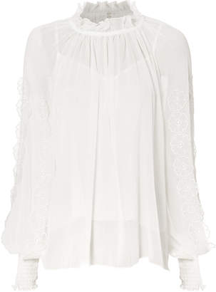 See by Chloe Floral Applique Sheer Blouse