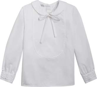 Oscar de la Renta Bow Front Long Sleeve Blouse