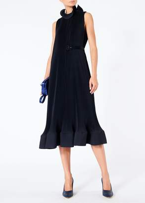 Tibi Pleated Sleeveless Dress with Removable Belt
