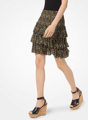 Michael Kors Floral Tiered Ruffle Skirt