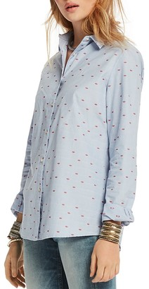 Scotch & Soda Embroidered Lips Button-Down Shirt $115 thestylecure.com