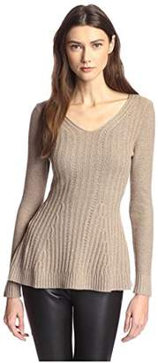 James & Erin Women's Peplum Cashmere Sweater