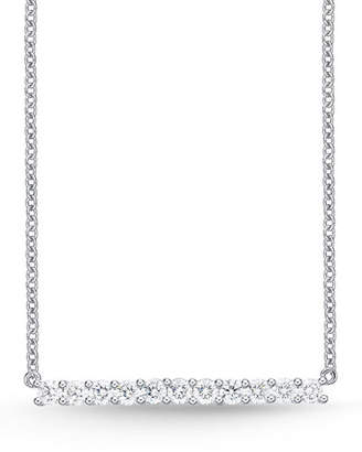 Memoire 18k White Gold Medium Diamond Bar Pendant Necklace