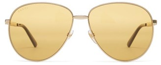 Gucci Aviator Frame Metal Sunglasses - Mens - Gold