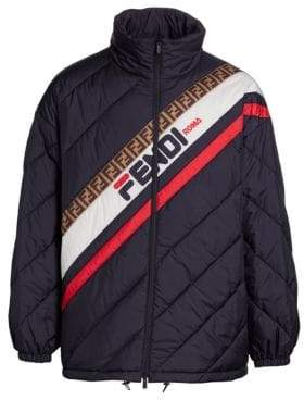 Fendi Diagonal Quilted Striped Puffer Jacket