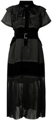 Sacai frill detail pleated dress