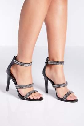096d81f1ca43 Quiz Black Diamante Triple Strap Heeled Sandals