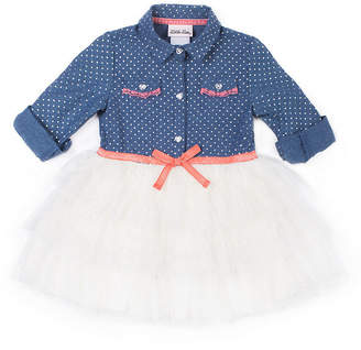 Little Lass Long Sleeve Denim Dot Dress - Baby Girls