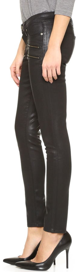 Paige Edgemont Ultra Skinny Black Silk Wash w/Zips
