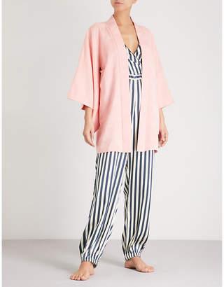 Kisshoten Pink Feathers silk-jacquard kimono robe