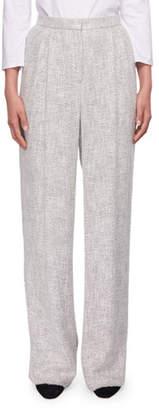 The Row Hester High-Waist Wide-Leg Fluid Tweed Pants