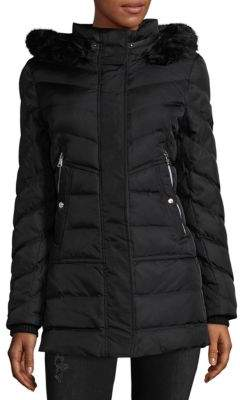 Vince Camuto Faux Fur-Trimmed Hooded Puffer Coat