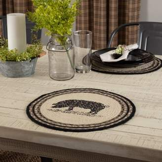 Ashton & Willow Bleached White Farmhouse Tabletop Kitchen Miller Farm Charcoal Pig Jute Stenciled Nature Print Round Tablemat Set of 6