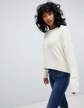 Pull&Bear chenille sweater in cream