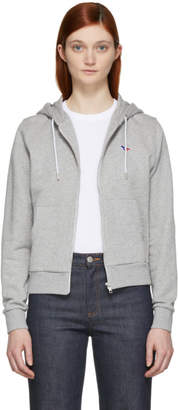 MAISON KITSUNÉ Grey Tricolor Fox Patch Zip Hoodie