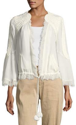 Kobi Halperin Nadine Embellished Open-Front Silk Jacket