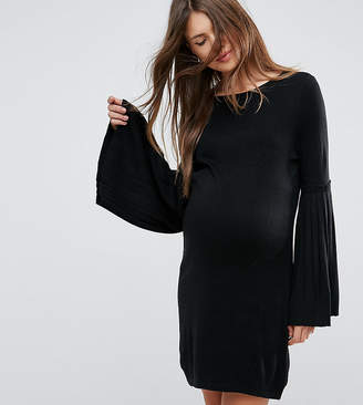Asos Knitted Dress With Pleated Sleeve