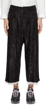 Sulvam Drop crotch palm tree jacquard raw cuff pants