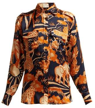 Chufy - Femi Safari Print Silk Shirt - Womens - Navy Print