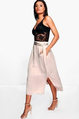 boohoo Lexi Gathered Waist Side Split Satin Midi Skirt
