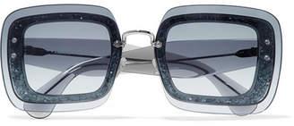 Miu Miu - Square-frame Glittered Acetate Sunglasses - Blue $480 thestylecure.com