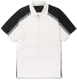 Off-White Grosgrain-Trimmed Printed Cotton-Poplin Zip-Up Shirt